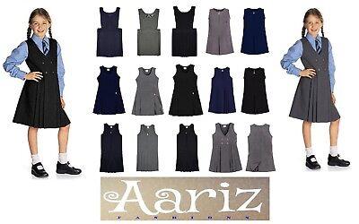 Girls School Skirt Uniform Pleated Waist Black Navy /& Grey Age 2-18yr