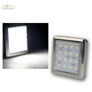 LED-Chrom-Unterbauleuchte-034-Quattro-034-16-LEDs-kalt-weiss-12V-ca1-6W-Aufbaustrahler