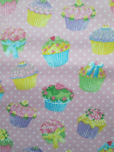 Cup Cakes Cupcakes Bakery Sweets Glitter Pink Cotton Flannel Fabric