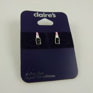 Sterling-Silver-pink-Lipstick-post-studs-earring-earrings-925-Claires-avon-MK