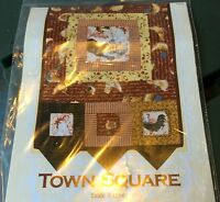 "TOWN SQUARE Quilt Pattern Table Runner w Prairie Points 12.5"" X 50"" Craft Sewing"