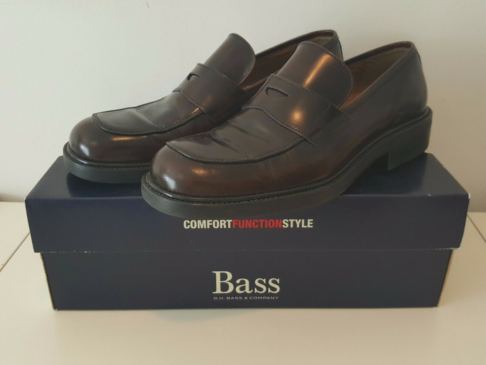 uomo Bass Leather Dress Shoes Penny Loafer - Brown Size 8/8.5 (Made in Italy) Scarpe classiche da uomo