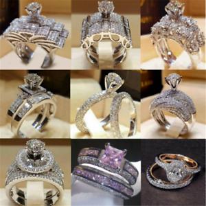 2PCS-Charm-925-Silver-Sapphire-Women-Wedding-Ring-Jewelry-Valentine-039-s-Day-Gift