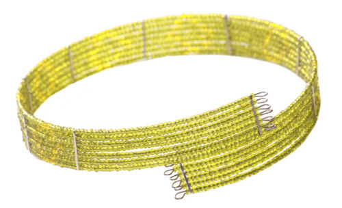 Iridescent 7 Row Lime Green Beads Stranded Choker Necklace Zx8//145