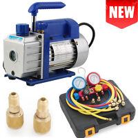 1stage Rotary Vane Deep 1/4hp 3cfm Ac Vacuum Pump R410 R134 Freon Hd Hvac-bluew