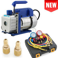 1stage Rotary Vane Deep 1/4hp 3cfm Ac Vacuum Pump R410 R134 Freon Hd Hvac-bluew