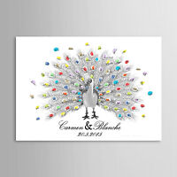 New Wedding Guestbook Fingerprint Tree 35*50 Modern Keepsake Peacock Pattern