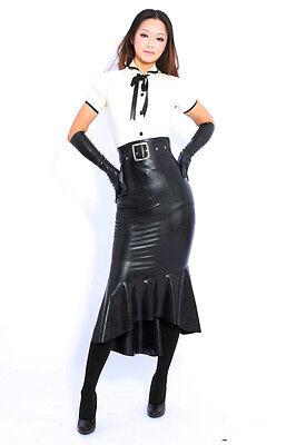 100% Latex Rubber Gummi Dress Kleid Uniform Shirt Hemd Catsuit Ganzanzug Kostüm