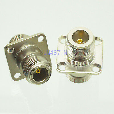 5pc Adapter N female to N female jack 25.4mm flange panel mount RF connector F/F