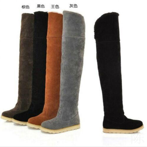 New Women Over The Knee High Boots Fleece Fur Lined Flats Snow Boots Shoes D