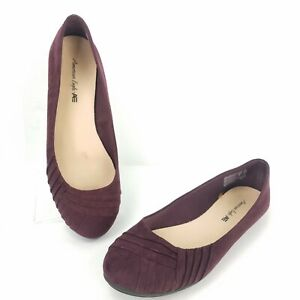 American-Eagle-Shoes-Size-7-5-Maroon-Ballet-Flats-Wrap-Style-Slip-On-Espadrilles
