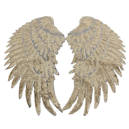 2 Pair Fashion Applique Motif Angel Wings Sequin Iron-On Embroidered Patches