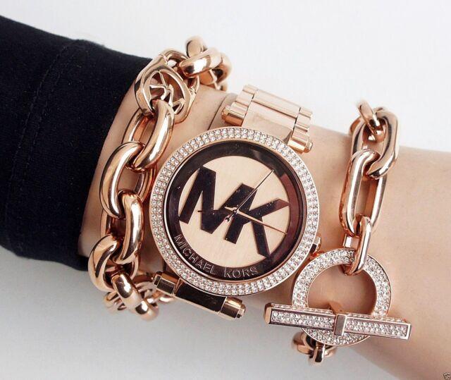 Original Michael Kors Reloj de Mujer mk5865 Parker Colores Rosa Cristal Nuevo