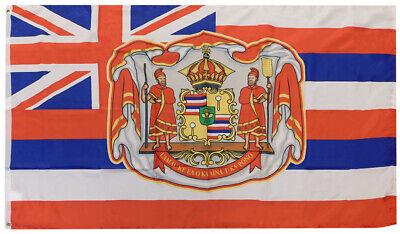 RUF Hawaiian Royal Coat of Arms 100D Woven Poly Nylon Flag 3x5 3/'x5/' Grommets