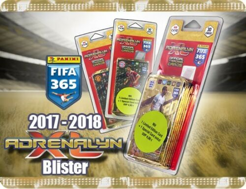 PANINI ADRENALYN XL FIFA 365 2018 Plaquettes Incl Limited Edition Trading Cards