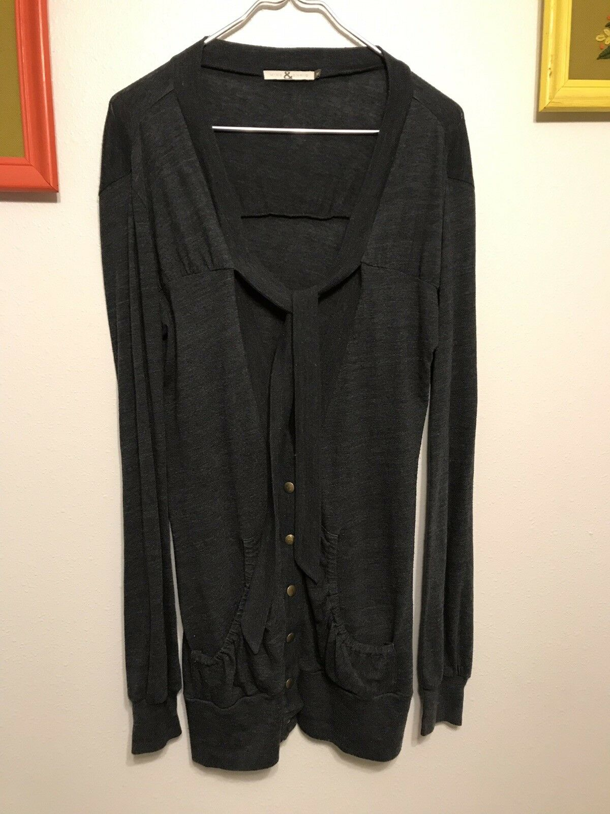 Mike & Chris Women's Sz Med Grey Long Sleeved Thin Cardigan Knit Sweater