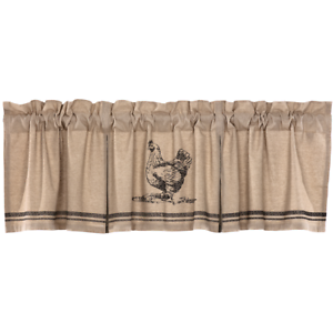 VHC Sawyer Mill Charcoal Chicken Valance ~ 20x60 or 20x72
