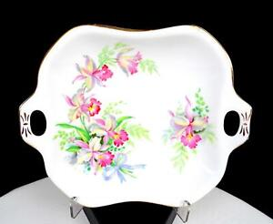 """ROSLYN CHINA ENGLAND SWEET ROMANCE PINK ORCHIDS 7 1/8"""" HANDLED DISH 1950-1963"""