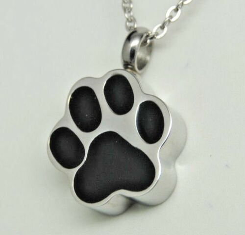 Ashes Keepsake Black Paw Print Urn Necklace Dog or Cat Cremation Jewelry