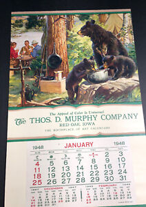 Murphy-Red-Oak-Iowa-Sample-Calendar-Fishing-Bear-Cards-Sportsman-1950-Original