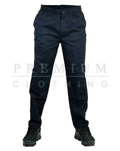 Mens-Elasticated-Waist-Chino-Work-Casual-Rugby-Trousers-Pants-Rugby-Trousers