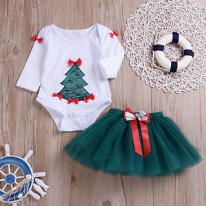 f54d626b16a4a Details about Fancy Xmas Tree Costume for Toddler Baby Girls Christmas  Romper Skirt Outfit Set