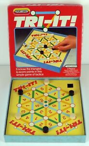 Vintage-1985-Tri-It-Spear-039-s-Games-Enclose-The-Triangles-To-Score-Points