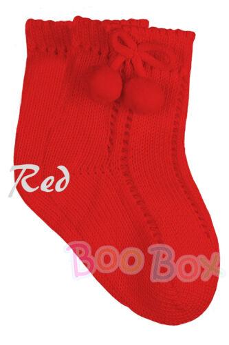 Baby Boys//Girls Boys//Girls Ankle Pom Pom Socks Romany Spanish NB-6 Years