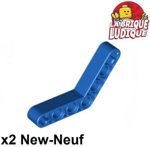 Red Technic 4-4 LEGO x 2 Liftarm 1x7 Bent Thick 32348 NEUF