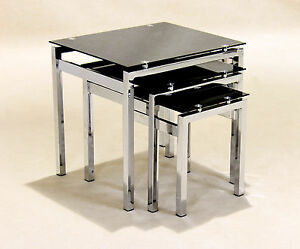Image Is Loading Nest Of Tables Black Gl Chrome Three Piece