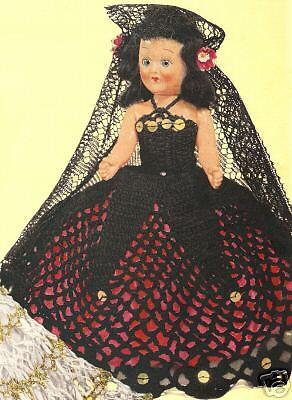 Vintage Crochet Spanish Senorita Doll Dress 8in Pattern