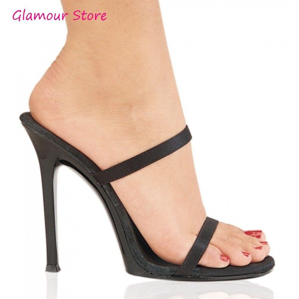 Sexy SANDALI tacco 11,5 NERO dal 35 al 41 NERO 11,5 satin raso sabot scarpe Glamour chic bda841