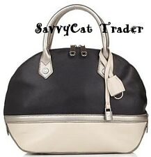 EMMA FOX Leather Black Pewter Beige Jaca Dome Satchel Handbag Purse w/Strap NEW