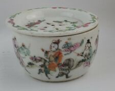 Antique Chinese Porcelain Famille Rose Cricket Cage Box late 19th c. Red seal