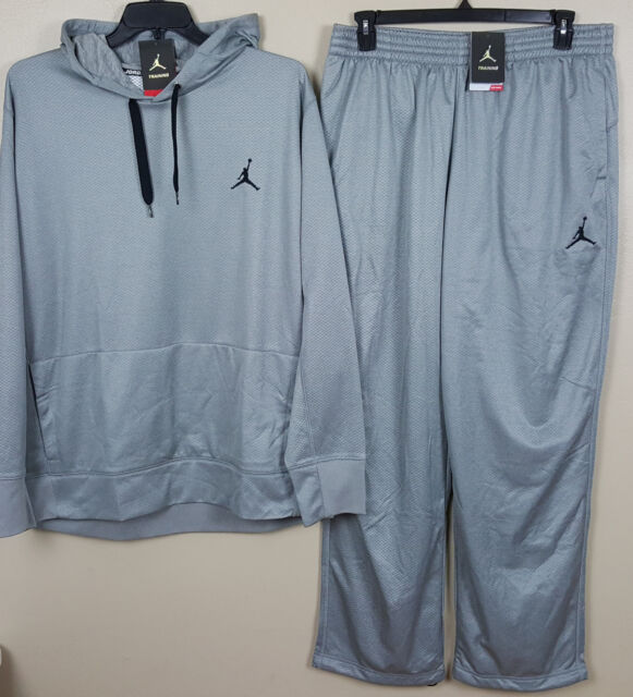 Nike Jordan Dri fit Training Suit Hoodie Pants Grey Black RARE (size Xlt)