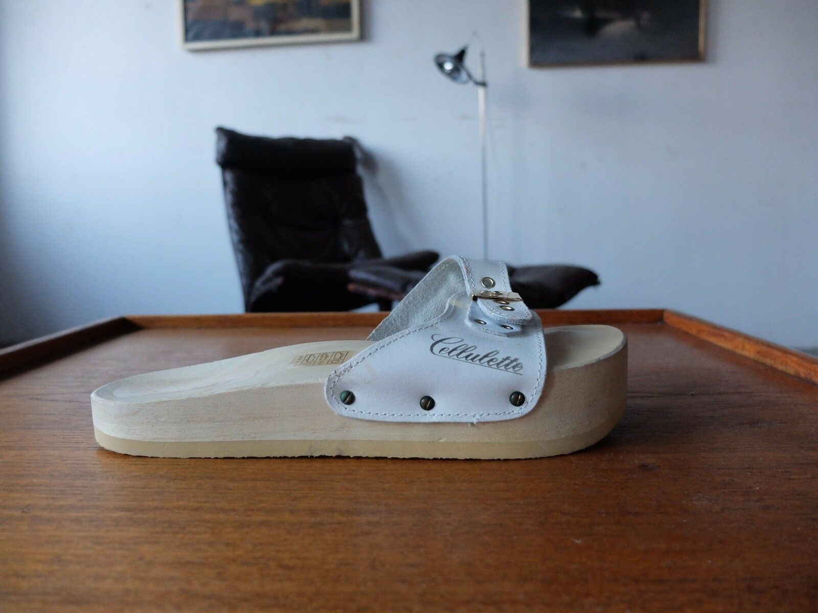 CELLULETTE true vintage sandale Gr. 40 Flops bois uk 6,5 Cuir Made