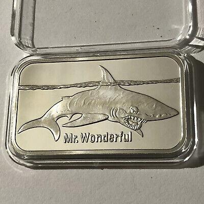 Mr Wonderful Shark Collectible Proof Bar 1 Troy Oz .999 Fine Silver Ingot Medal