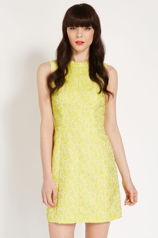 Oasis Women's Yellow Emma Aline Jacquard Dress