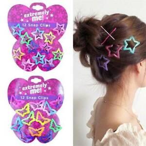 12PCS-Kids-Mini-Candy-Color-Barrettes-Girls-039-BB-Clip-Pentagram-Hair-Accessories