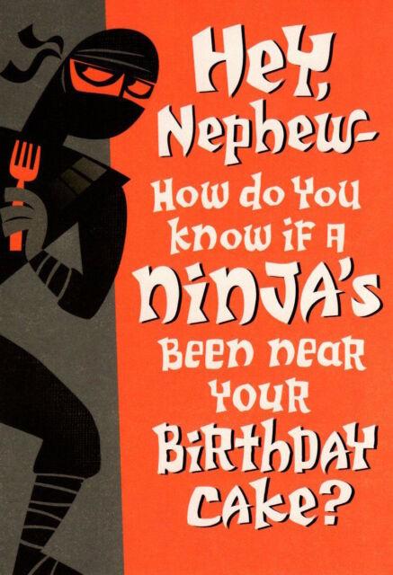 Funny Happy Birthday Nephew Ninja Warrior Near Cake Hallmark
