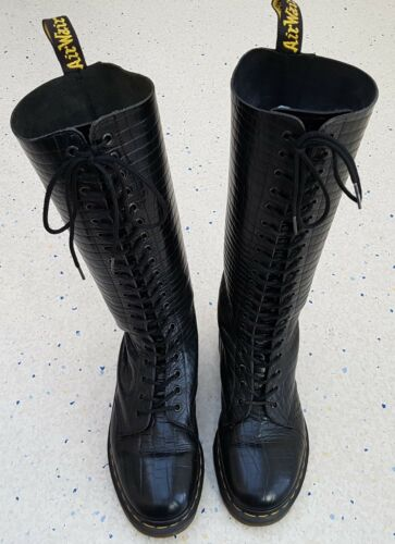 Tamaño Botas Martens serpiente 5 tamaño para 6 negra ojales piel Dr Sn9730 de de mujer en con 6wFrTq6