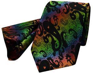 Black-Paisley-Tie-NEW-Multi-Green-Blue-Orange-Silk-FREE-Hanky-Set-pr16