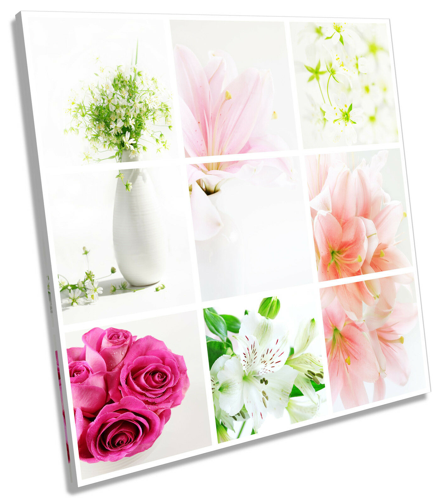 Floral Flower Collage SQUARE CANVAS WALL ART Print Picture