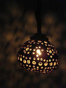 Single Coconut Shell Hanging Light Lamp Garden Home