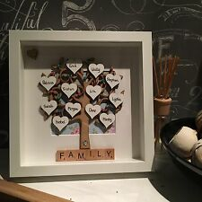 Family Tree Frame Fathers Day Teacher Love  Hearts Names Mum Gift Scrabble