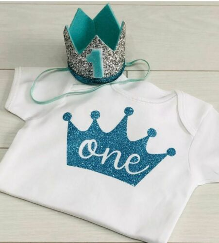 Baby Boys Cake Smash Outfit Set First 1st Birthday Aqua Crown Hat /& Top Vest