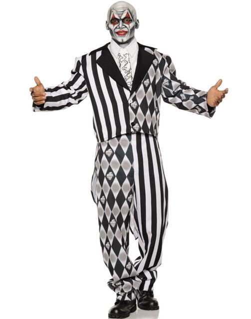 Evil Clown Tuxedo Boys Orange Black Scary Jester Halloween Costume