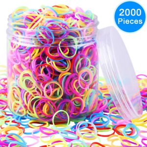EAONE 2000 Pieces Multi-color Rubber Bands Small Candy Color Hair Bands Hair Box