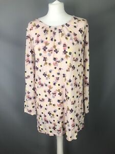 BNWT-M-amp-S-Size-10-Pink-Floral-Jersey-Long-Top-Tunic-Stretch-Spring-Summer-Long-Sl