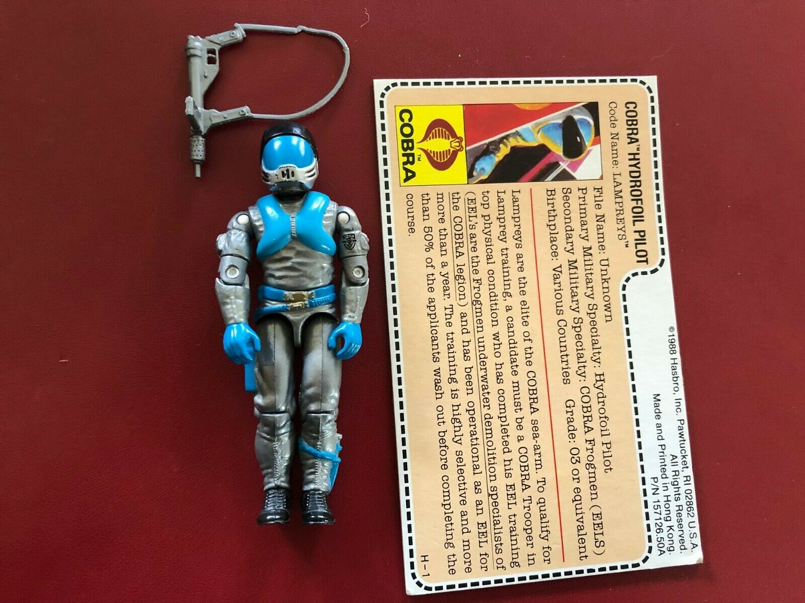 Vintage 1985 GI Joe Lampreys Complete Figure Weapon Uncut File Card mail away re